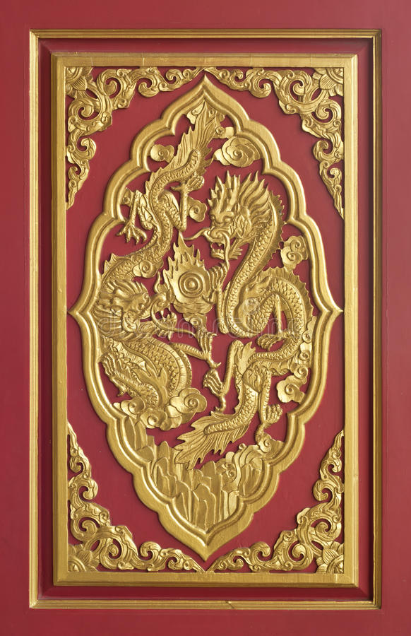Dragon frame. Decoration chainese style for window in temple stock image