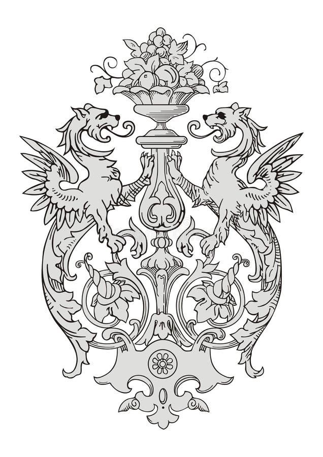 Dragon Frame Ornament ilustração do vetor