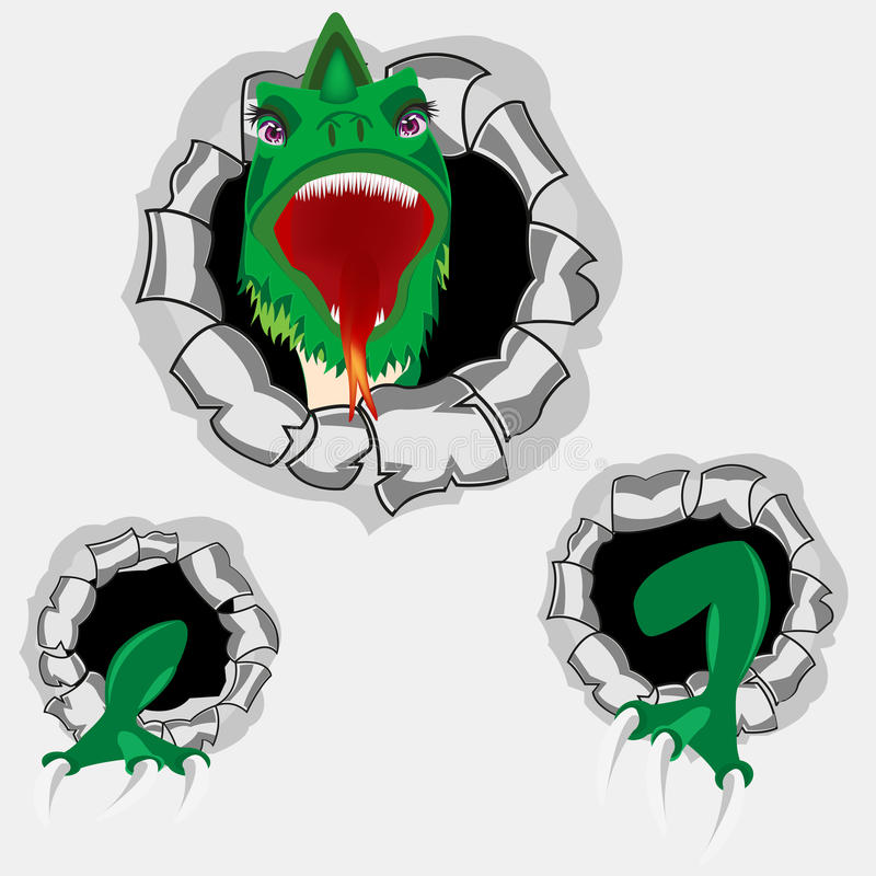 Free Dragon From Hole Royalty Free Stock Image - 76895296