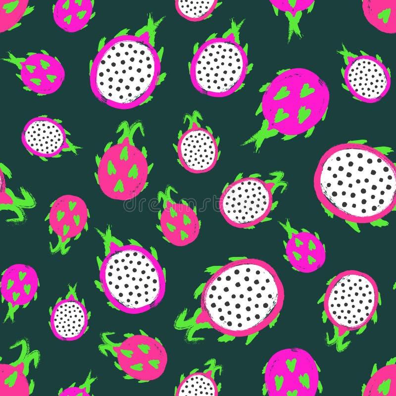 Dragon Fruit Background Painted Pattern ilustração stock