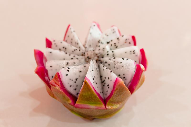Dragon fruit is a fruit in China with a sweet, delicious taste, white flesh, purple shell stock image