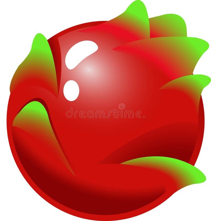 Dragon Fruit - Frucht-Einzelteile für Spiele des Matches 3 stock abbildung