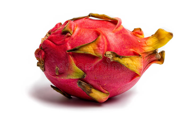 Dragon fruit, Pitahaya on white background. Hylocereus undatus (White-fleshed Pitahaya) is a species of Cactaceae and is the most cultivated species in the royalty free stock photo