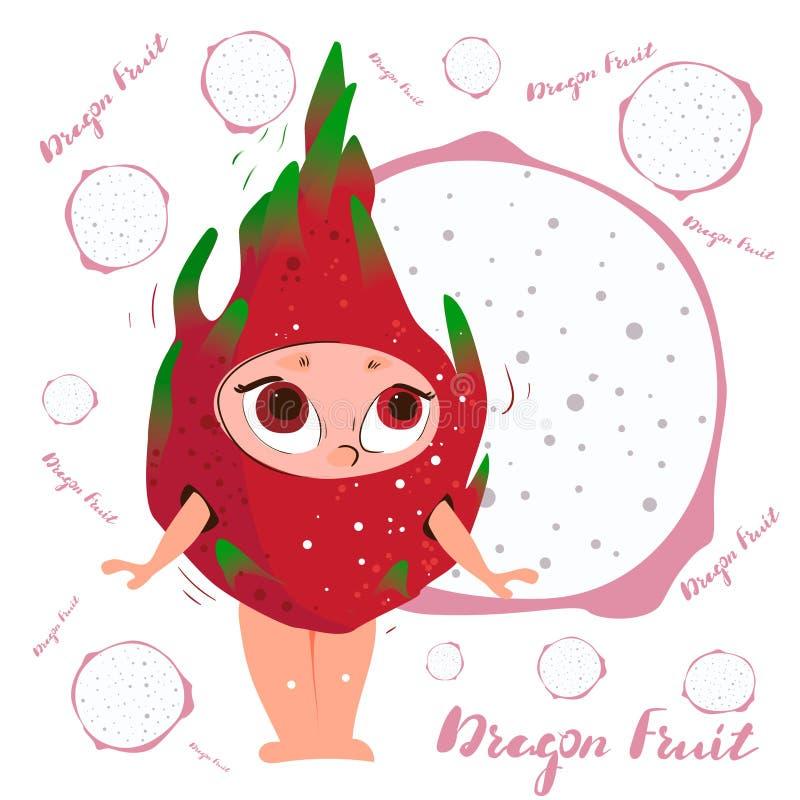 Dragon Fruit Pitaya. Fresh juicy red cartoon character stock image