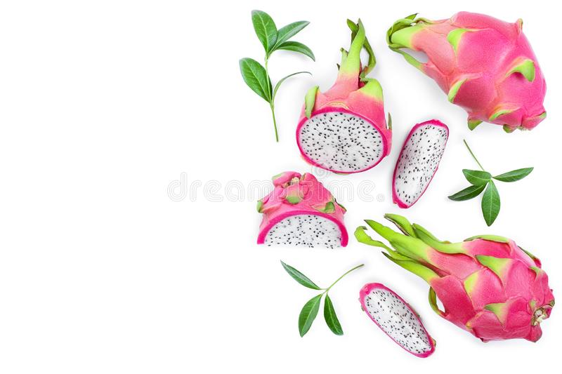 Dragon fruit, Pitaya or Pitahaya isolated on white background with copy space for your text. Top view. Flat lay.  royalty free illustration