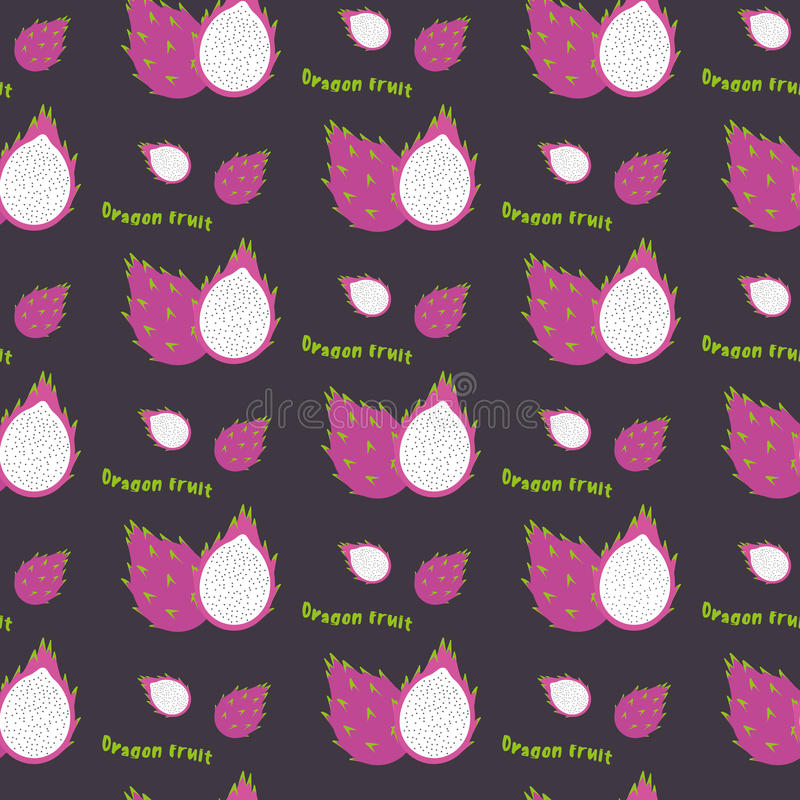 Dragon fruit seamless repeating pattern, hand drawn style. Exotic tropical fruit. For printing on fabric or paper. Vector vector illustration