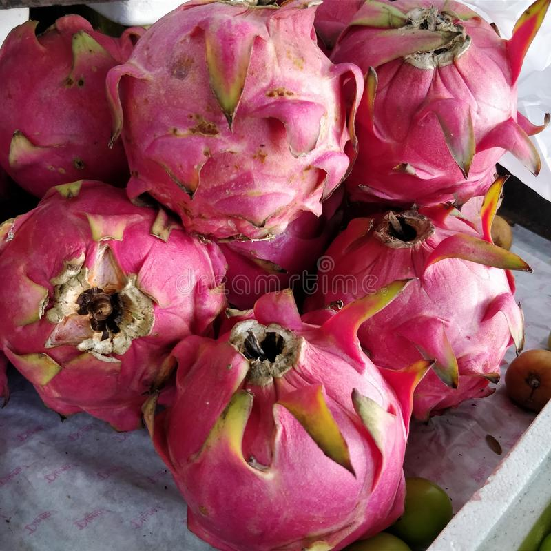 Dragon fruits or pitahaya. A pitaya or dragon fruit is the fruit of several cactus species indigenous to the Americas. Pitaya usually refers to fruit of the royalty free stock photo