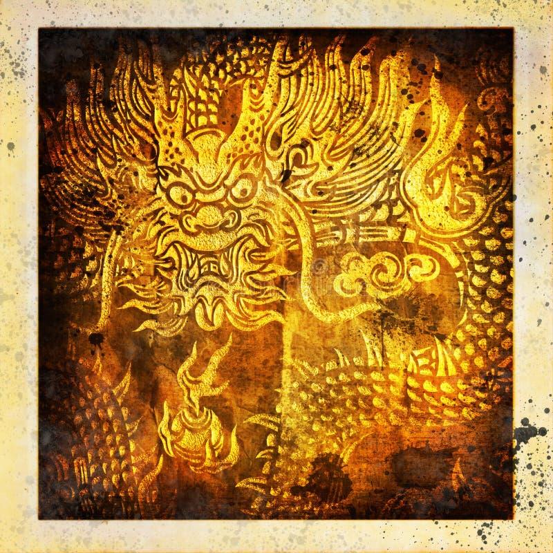 Dragon ,grunge paper stock illustration