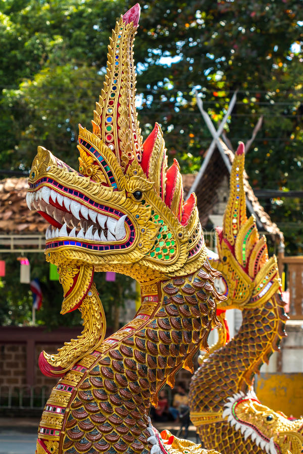 Dragon Guard Statue At The Buddhist Temple Entrance
