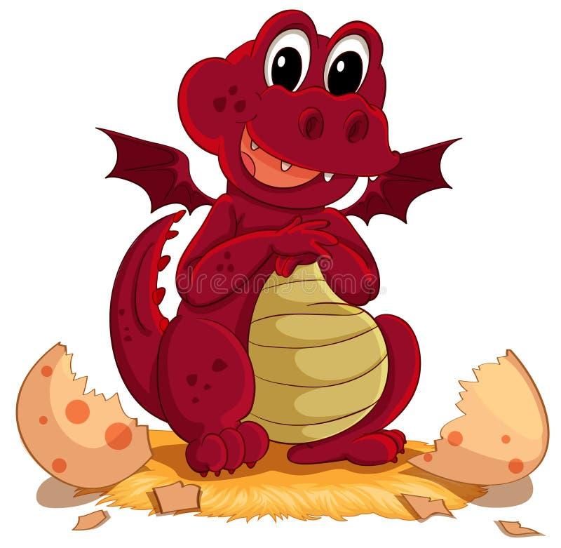 Dragon hatching. Illustration of a dragon hatching royalty free illustration
