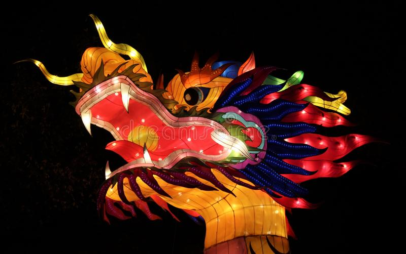 Dragon Head, festival de lanterne chinois de l'Ohio, Columbus, Ohio photos stock
