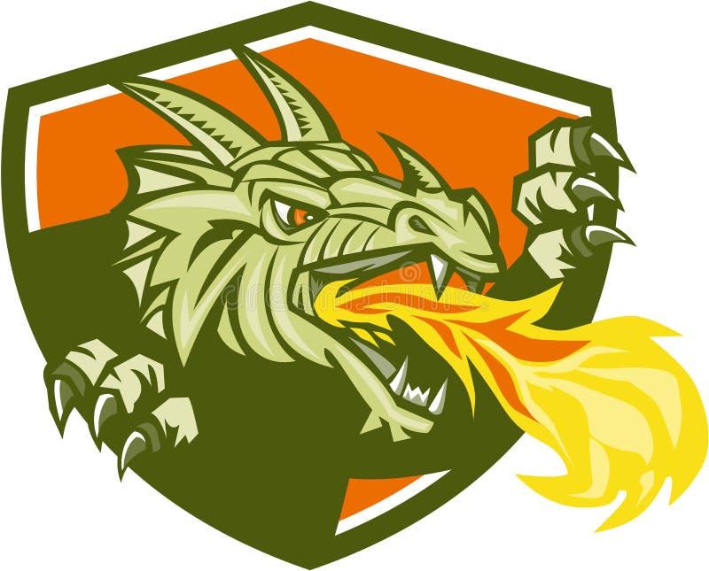 Dragon Head Fire Crest Retro ilustração do vetor