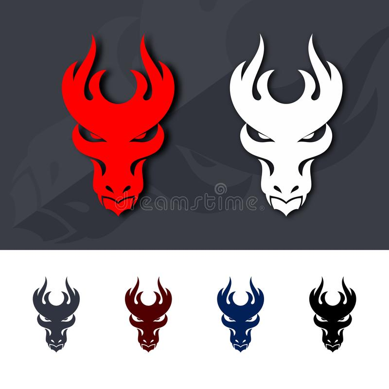 Dragon Head Icons illustrazione vettoriale