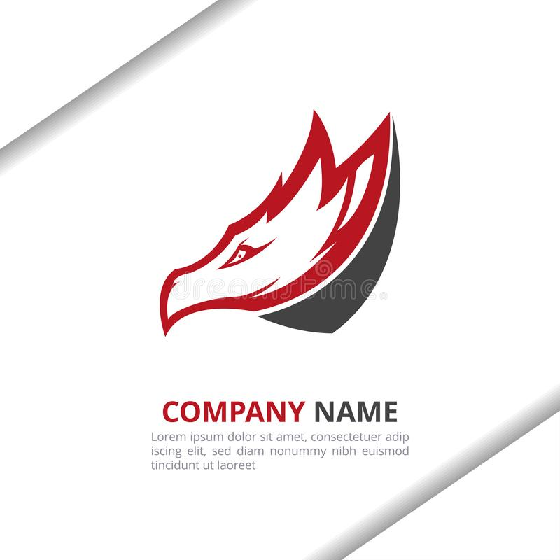 Dragon head Logo Design Concept, för ditt företag eller varumärke i röd och svart färg royaltyfri illustrationer