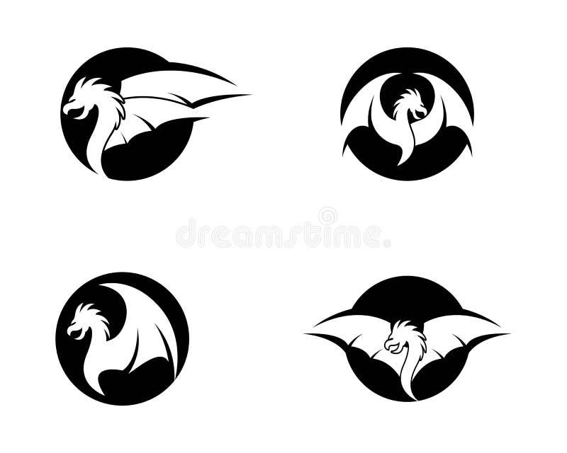 Dragon head logo template. Vector icon illustration, mascot, animal, element, logotype, modern, pictogram, red, style, symbol, ancient, asia, asian, barb, beast stock illustration