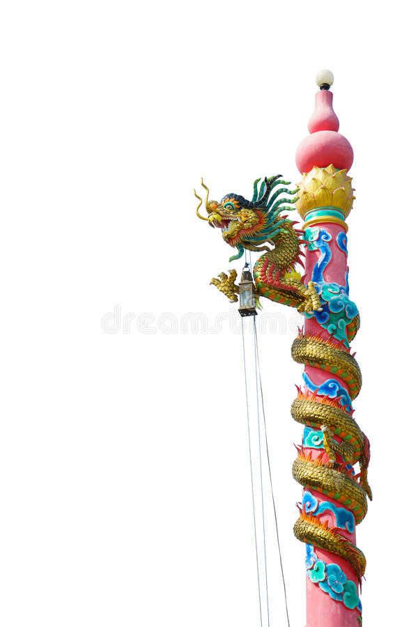 Dragon head on red pillars. The dragon head on red pillars royalty free stock image