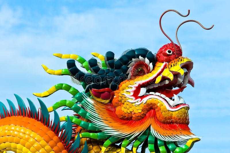 Dragon head on the roof temple. With blue sky royalty free stock photography