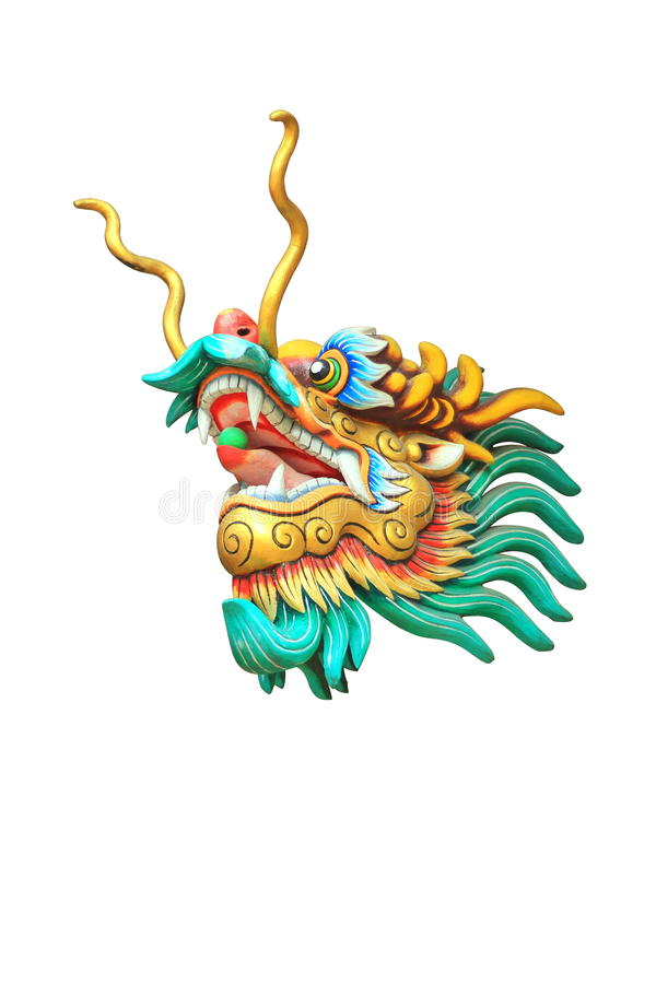 Download Dragon Head Statue Isolated On White Background Stock Photo - Image of chinese, place: 53562636
