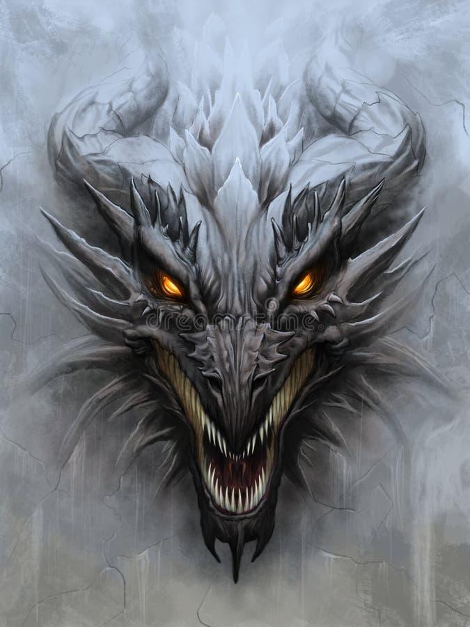Dragon head on stone background vector illustration