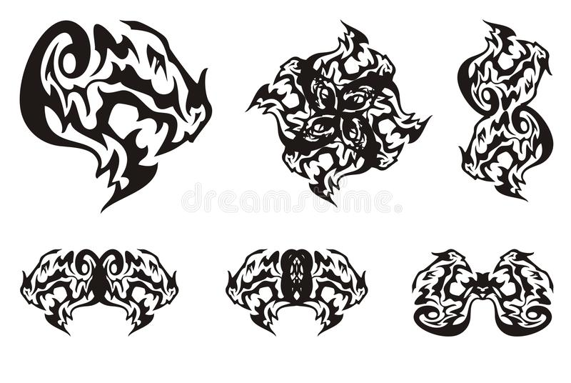 Dragon Head Symbols In Tribal Style Stock Vector Illustration Of