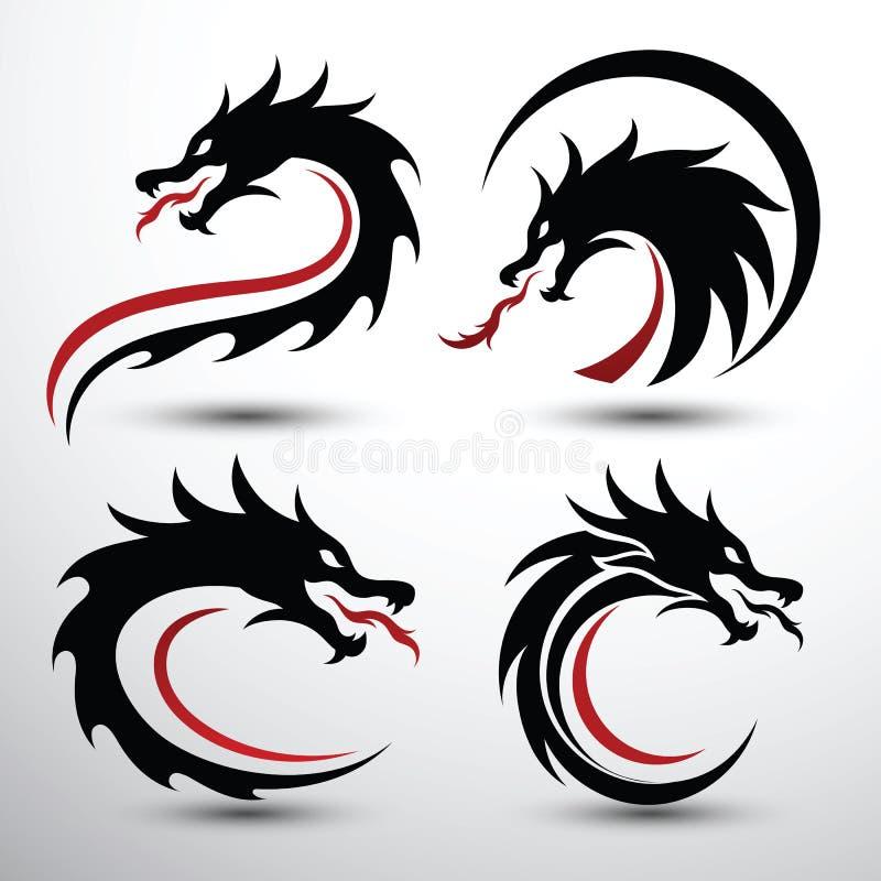 Dragon head vector. Chinese dragon head silhouette flat color logo design, vector illustration stock illustration