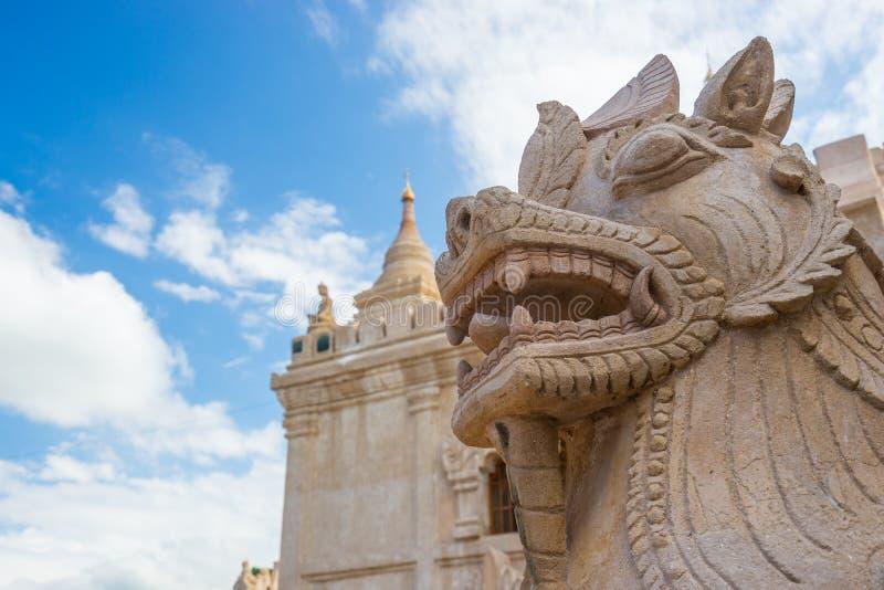 Dragon-headed unicorn statue at Ananda temple, Bagan, Mandalay. Myanmar stock image