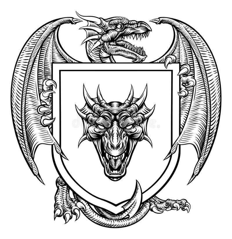 Dragon Heraldic Crest Coat van het Schild van het Wapensembleem royalty-vrije illustratie