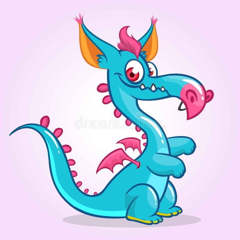 Dragon heureux de bande dessinée Dirigez l'illustration de la mascotte de monstre de dragon avec de petites ailes illustration stock