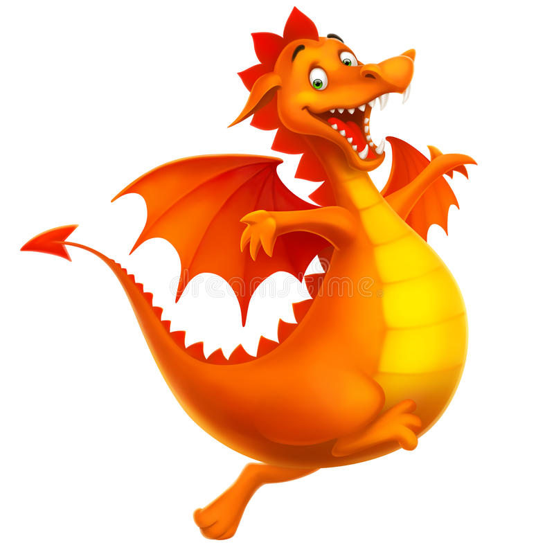 Dragon heureux de sourire mignon de vecteur comme dessin animé ou jouet illustration libre de droits