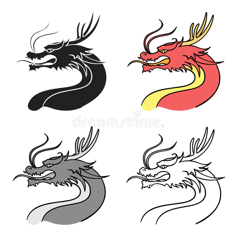 Dragon Icon In Cartoon Style Isolated On White Background South