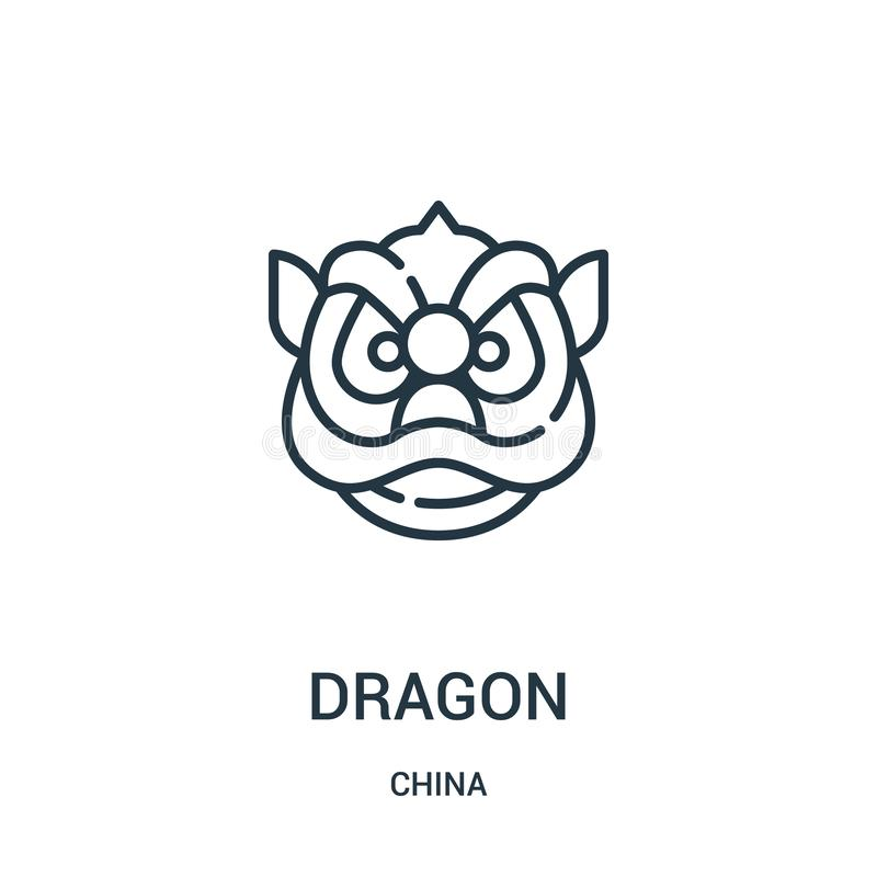 Dragon icon vector from china collection. Thin line dragon outline icon vector illustration. Linear symbol for use on web and. Mobile apps, logo, print media royalty free illustration