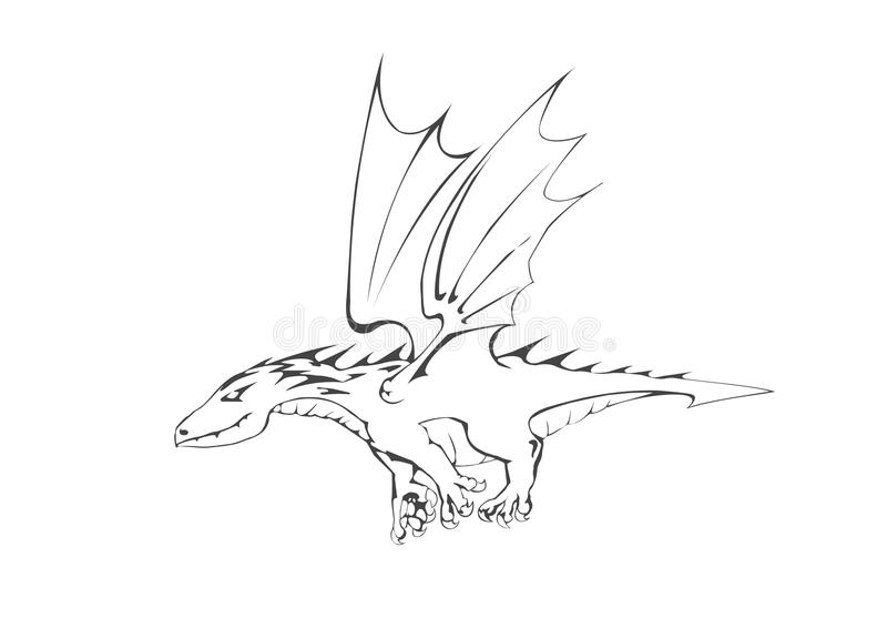 Dragon. Illustration for a fairy tale. stock photo