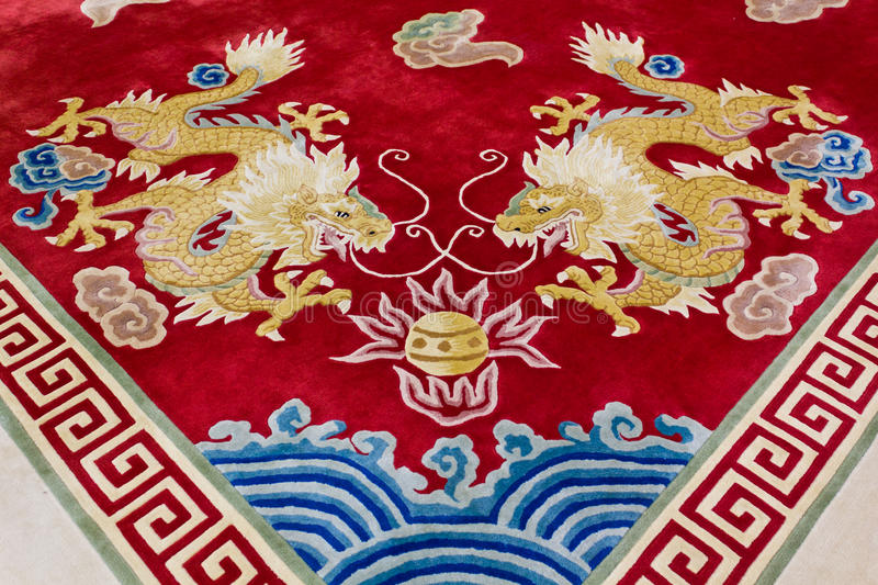 Dragon image on the carpet. In chinese temple, Thailand stock images