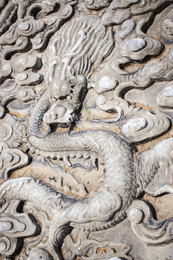 Dragon image at the entrance to the Confucius Temple stock image