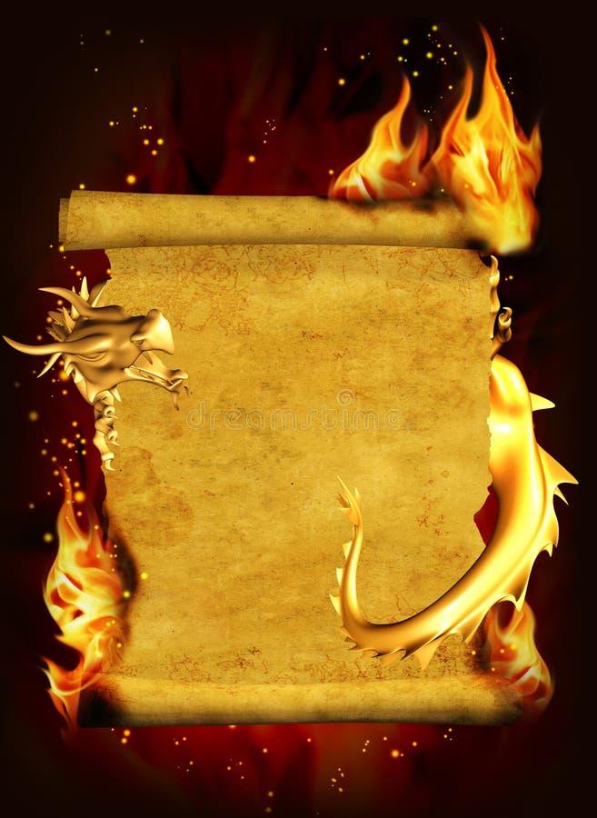 Dragon, incendie et défilement de vieux parchemin illustration de vecteur