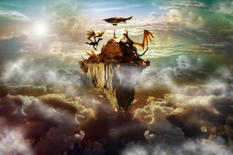 Dragon Island. Fantasy landscape of castle in the sky with dragons attacking it