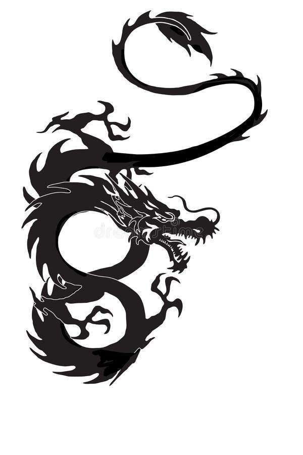 Dragon isolated. Dragon symbol illustration isolated on white background. Cool tattoo royalty free illustration