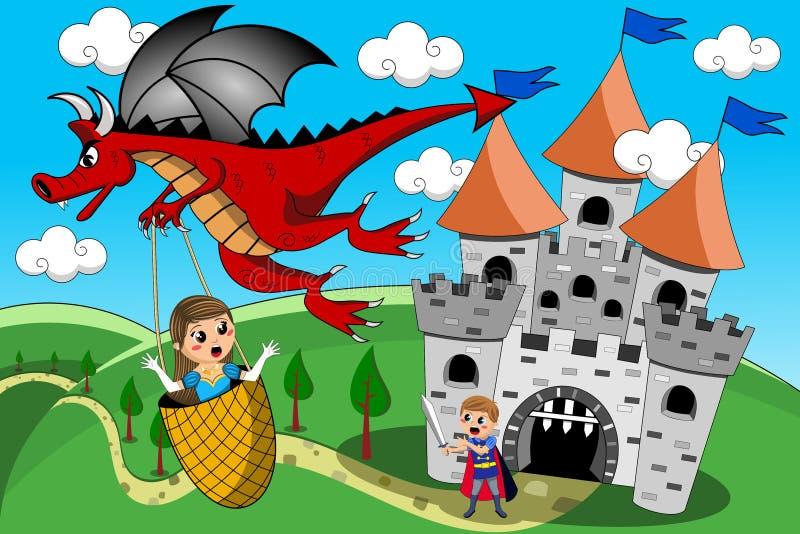 Dragon Kidnapping Princess Prince Castle saga stock illustrationer