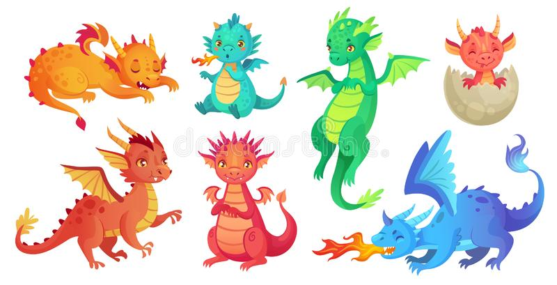 Dragon kids. Fantasy baby dragons, funny fairytale reptile and medieval legends fire breathing serpent cartoon isolated. Dragon kids. Fantasy baby dragons, funny stock illustration
