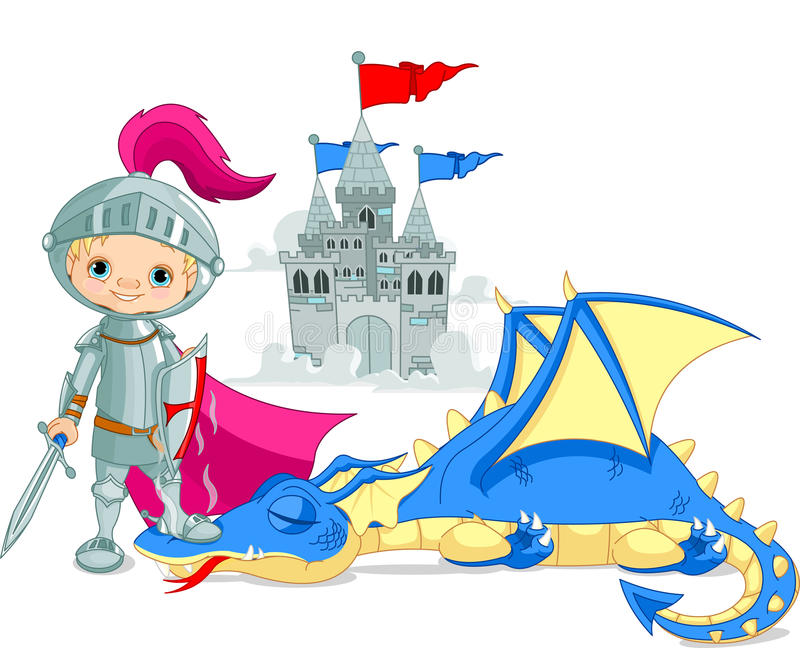 Dragon and Knight. Brave knight and defeated dragon