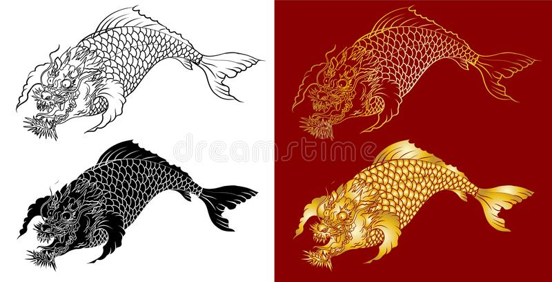 Line Drawing Jaguar : Dragon koi fish japanese carp line drawing coloring book vector