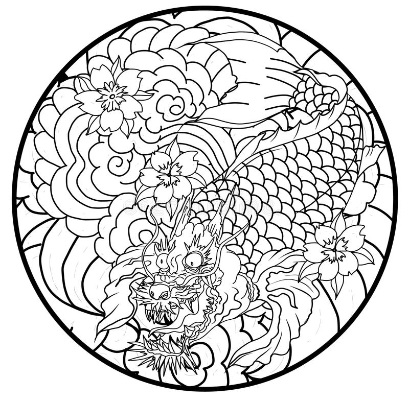 Download Dragon Koi Fish Japanese Carp Line Drawing Coloring Book Vector Image Stock