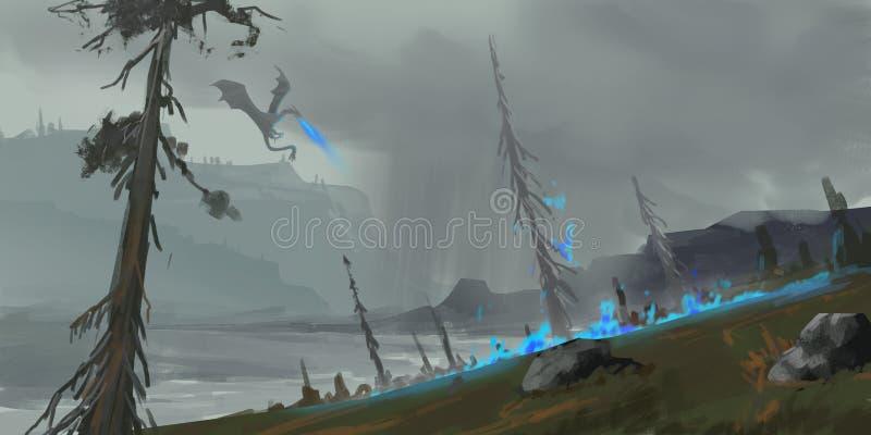 Dragon Land Argomento di fantasia SpitPaint Arte di concetto royalty illustrazione gratis