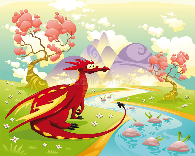 Dragon in landscape. Cartoon and illustration, isolated objects