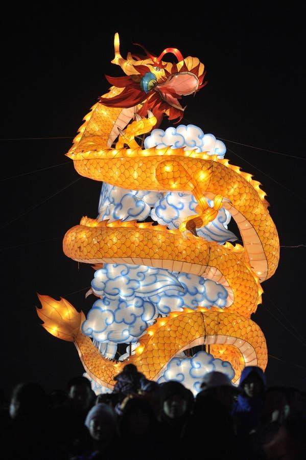 Dragon lantern. 2014, shenyang shengjing Lantern Festival lasted for ten days, Lantern Festival, temple fair performance will be in shenyang three street opened stock images