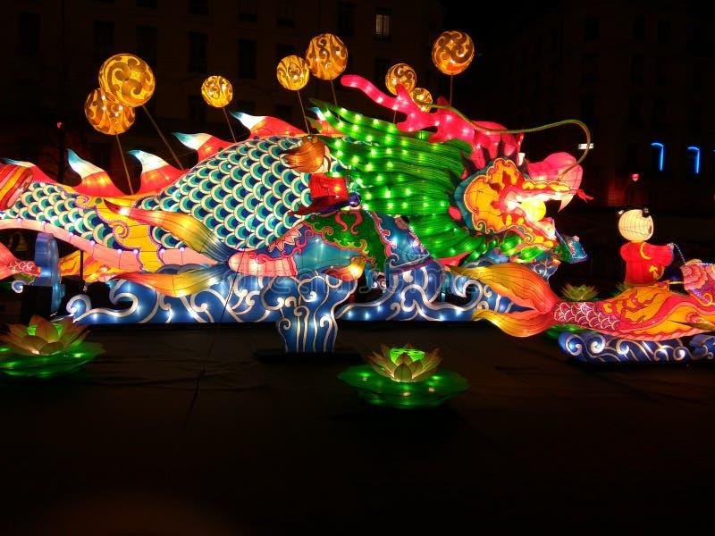 Dragon light. Ning at light party lyon france stock photo