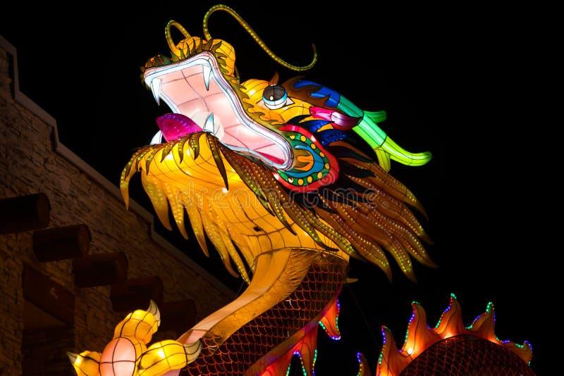 Dragon Lights Albuquerque, Seide Dragon Lantern eine chinesische traditionelle Kunst feiert das Chinesische Neujahrsfest stockfotografie