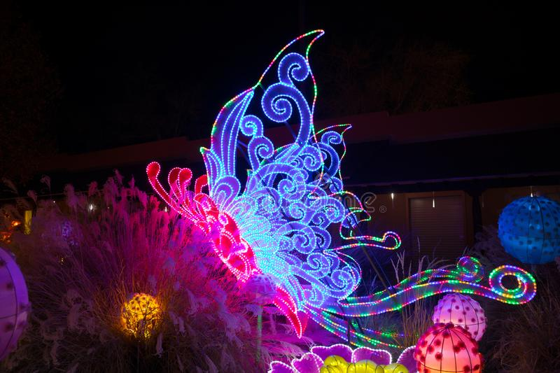 Dragon Lights Albuquerque, Silk Butterfly lantern. Chinese traditional art celebrates the Chinese New Year stock images