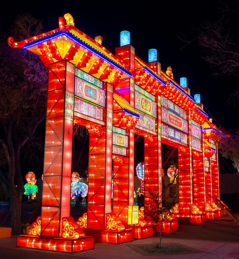Dragon Lights, festival de lanterna chinês Albuquerque, nan?metro fotografia de stock