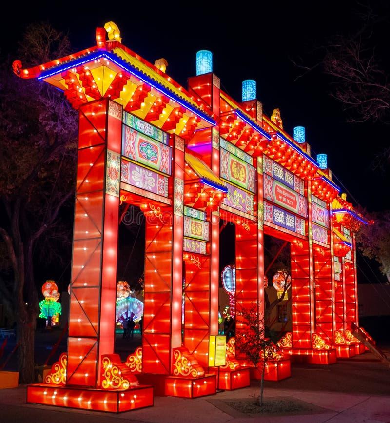 Dragon Lights, festival de lanterne chinois Albuquerque, nanom?tre photographie stock
